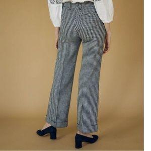 Vintage Navy Wool Houndstooth Wide Leg Pants